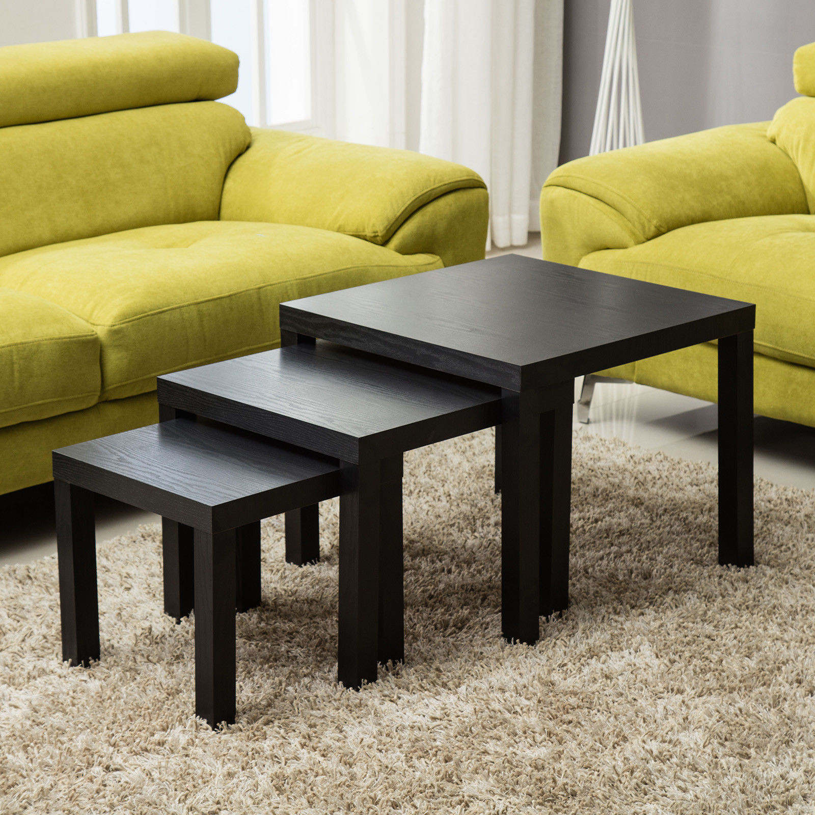 Modern Nest Of 3 Tables Side End Coffee Table Living Room Furniture Black