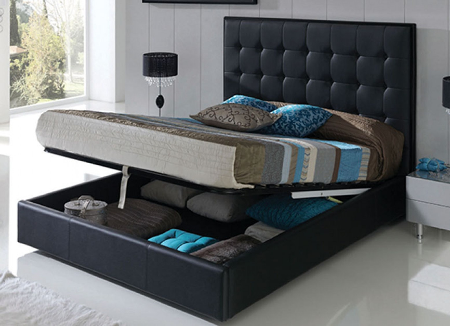 Penelope 622 King Size Storage Bed With Folding Frame Black Buy Online At Best Price