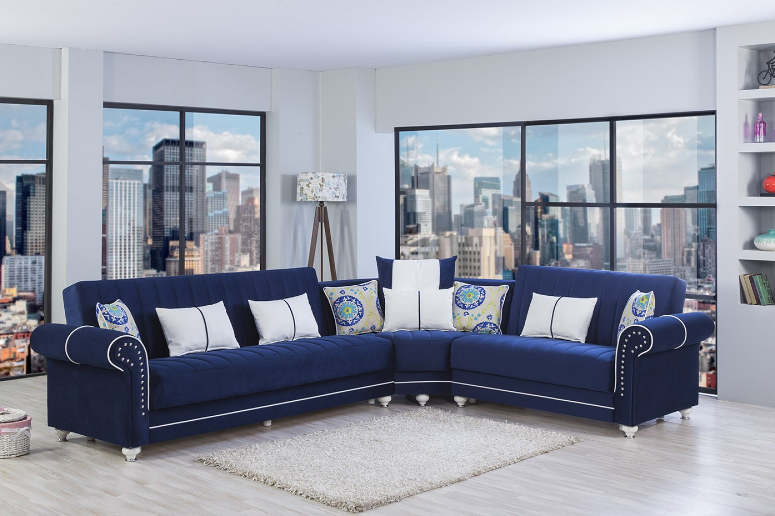 royal home sectional sofa riva dark blue