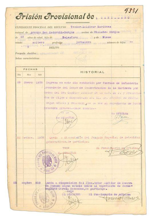 Expediente de la Prisión Provisional de El Cerillero (Gijón)