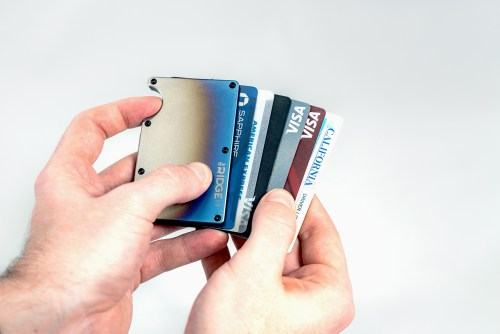 Aluminum Ridge Wallet in Hand Cards Fanned