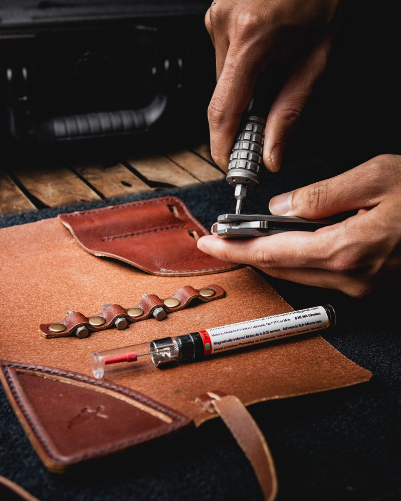 Leather Tool Roll Knife Kit