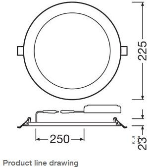 LEDVance 22W Slim VALUE Round Panel, IP20, 205mm Hole, 4000K
