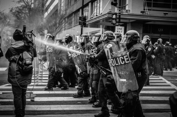 people, police, protest