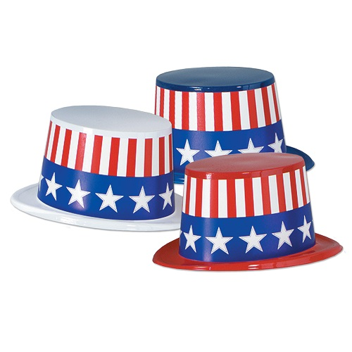 Plastic Top Hats with USA Band