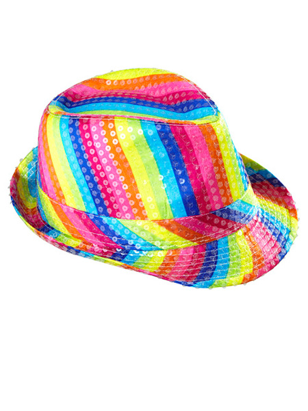Rainbow Sequin Fedora Hat