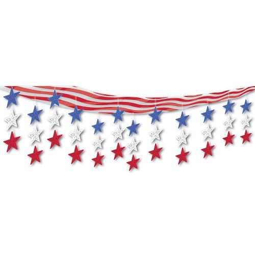 "Stars & Stripes Ceiling Decor 12"" x 12'"