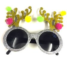 Antler Glittered Christmas Glasses  *only 3 left in stock *