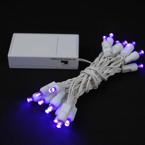 20 LED Battery Operated Christmas Lights Purple on White