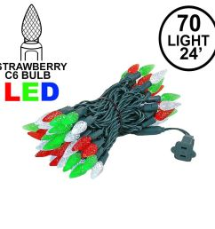 picture of red green white 70 led c6 strawberry mini lights commercial grade [ 1100 x 1100 Pixel ]