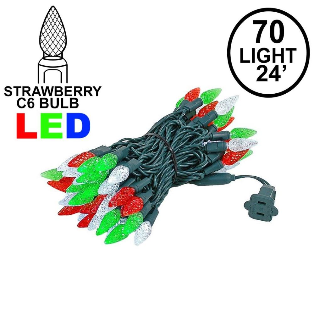 medium resolution of picture of red green white 70 led c6 strawberry mini lights commercial grade
