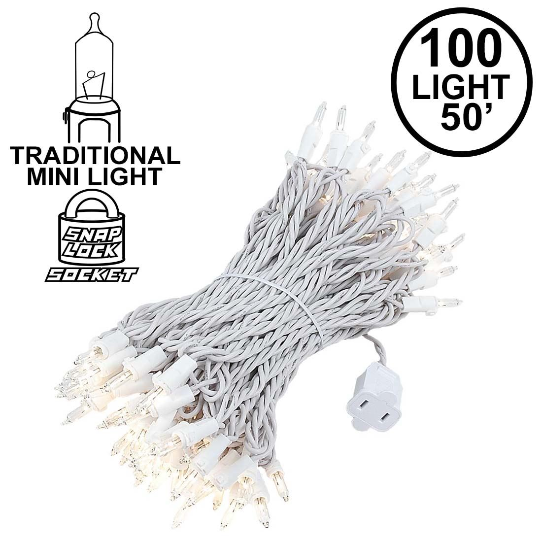 Clear Christmas Mini Lights Set 100 Light Brown Wire 50