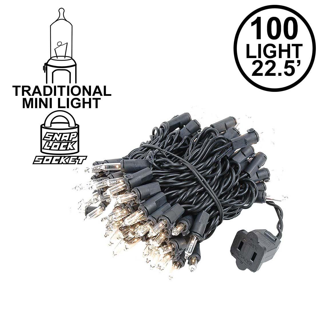Clear Christmas Mini Lights Set 100 Light Black Wire 22