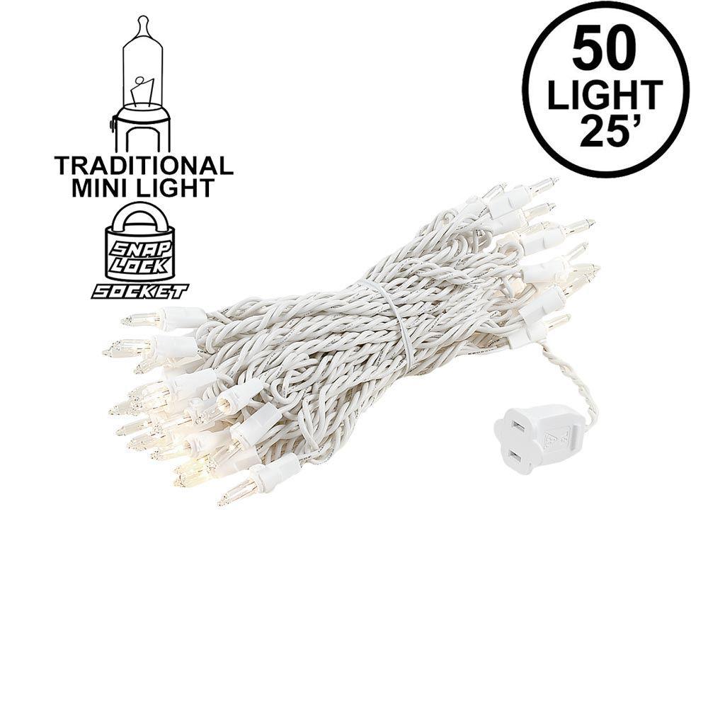 Christmas Mini Lights Set 50 Light White Wire