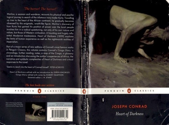 "A scan of outside of the well-worn cover of ""Heart of Darkness""."