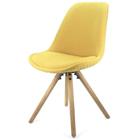 chaise scandinave tissu jaune moutarde couture pied bois chene