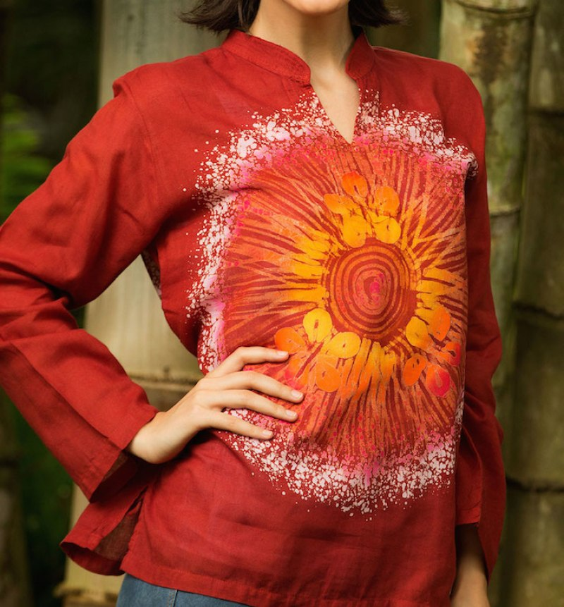 Women's Handcrafted Red Cotton Batik Tunic, 'Red Flower Power'