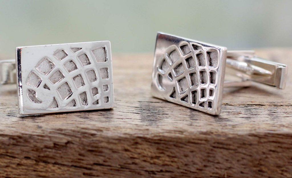 Modern Sterling Silver Cufflinks Men's Jewelry Globetrotter Fair Trade NOVICA