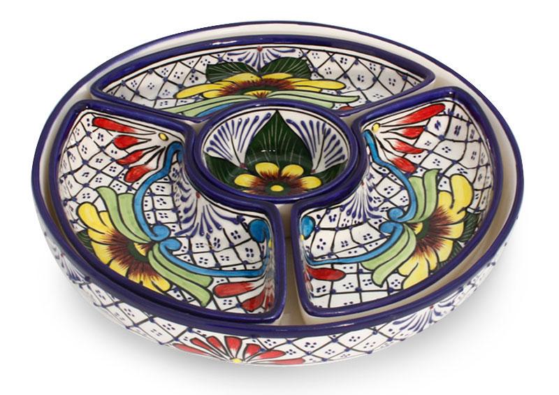 Fair Trade Mexican Floral Ceramic Platter Canape Serveware Daisy Stars