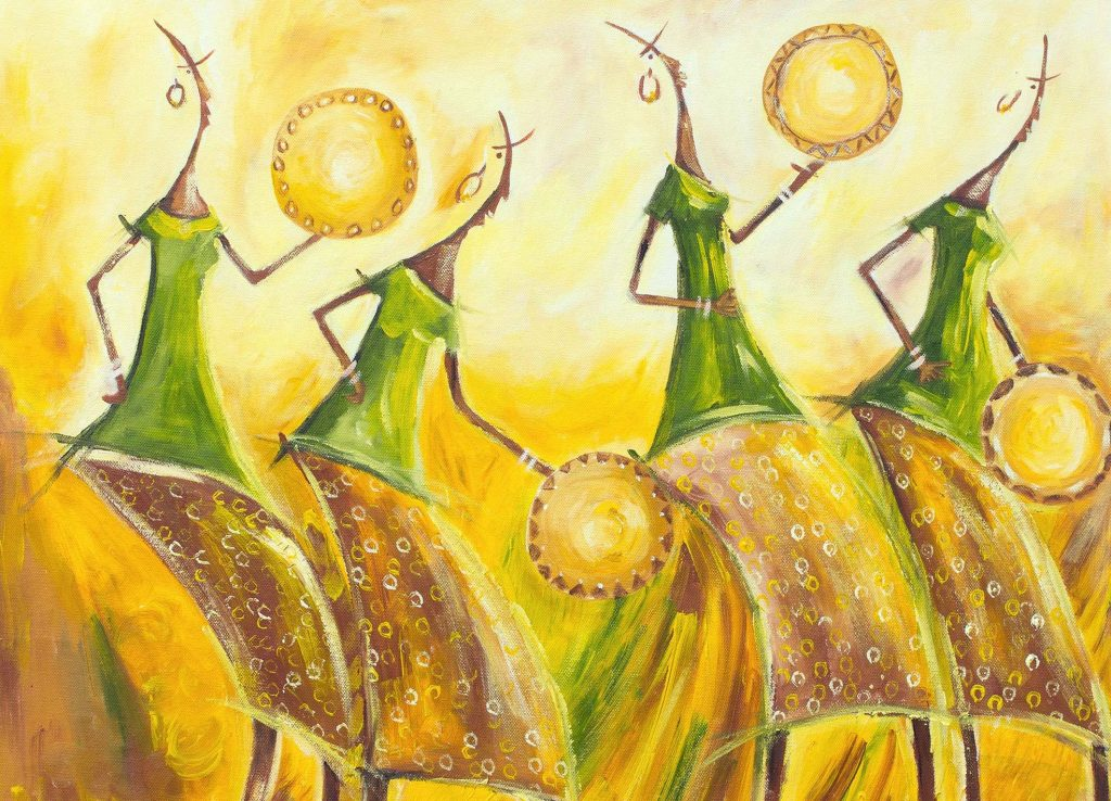 Signed Expressionist Painting of Dancing Women from Ghana, 'Calabash Dancers' Original Fine Art NOVICA