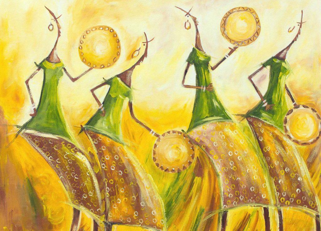Signed Expressionist Painting of Dancing Women from Ghana, 'Calabash Dancers' Original Fine Art NOVICA
