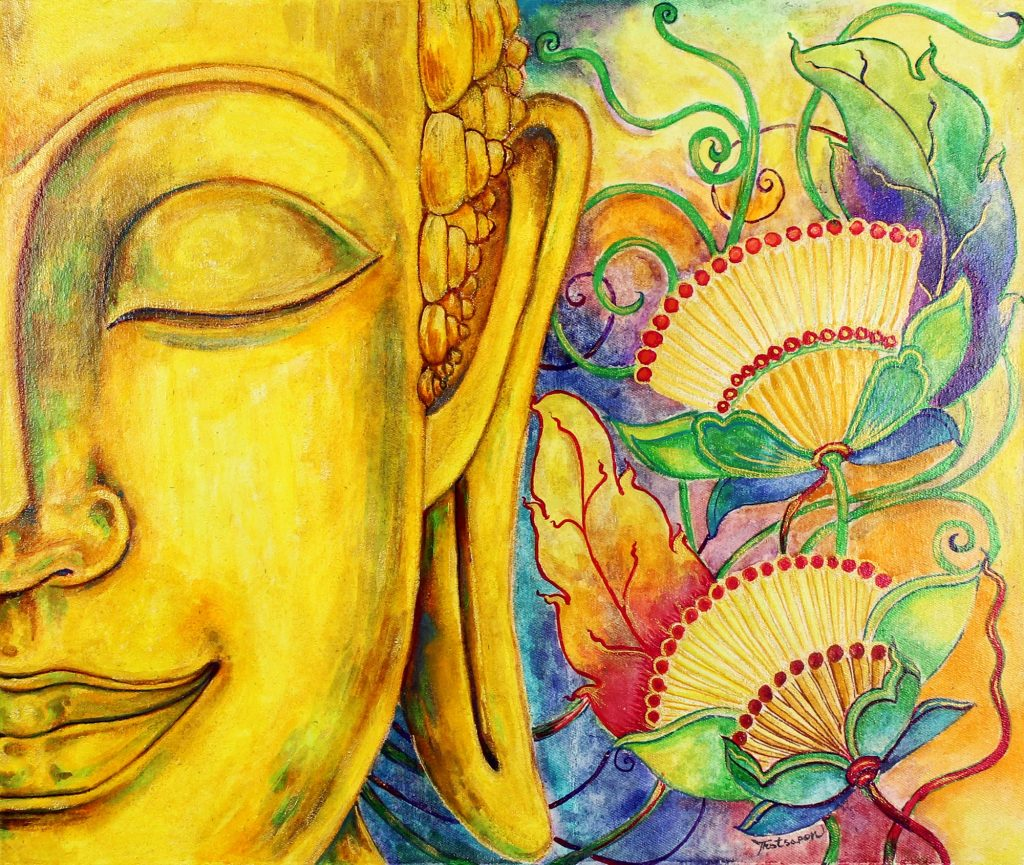 Signed Stretched Expressionist Painting of Floral Buddha, 'Phuttha Bucha' Original Fine Art Wall Art NOVICA Fair Trade