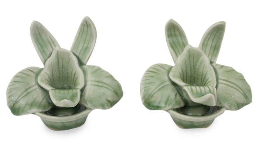 Green Celadon Ceramic Orchid Shaped Candle Holders (Pair), 'Thai Jade Orchids'