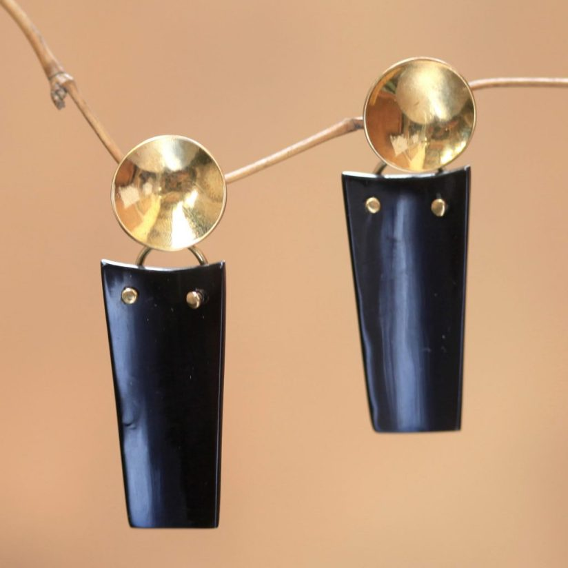 Modern Horn and Brass Dangle Earrings, 'Midnight Sun' Update Jewelry Collection