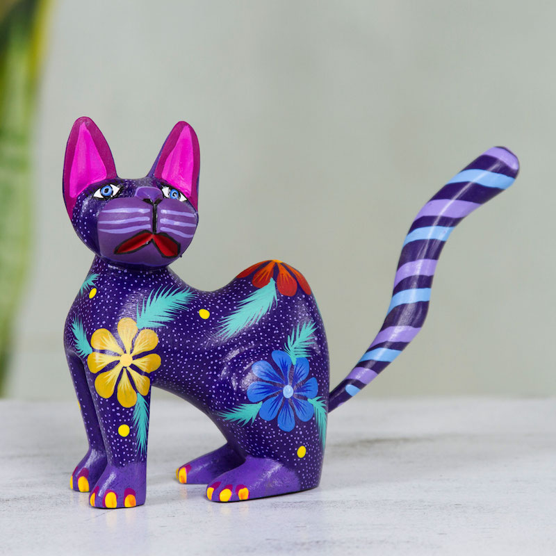 Hand Crafted Purple Wood Kittycat Folk Art Sculpture Springtime Cat Figurine Statuette Right sculpture for your home