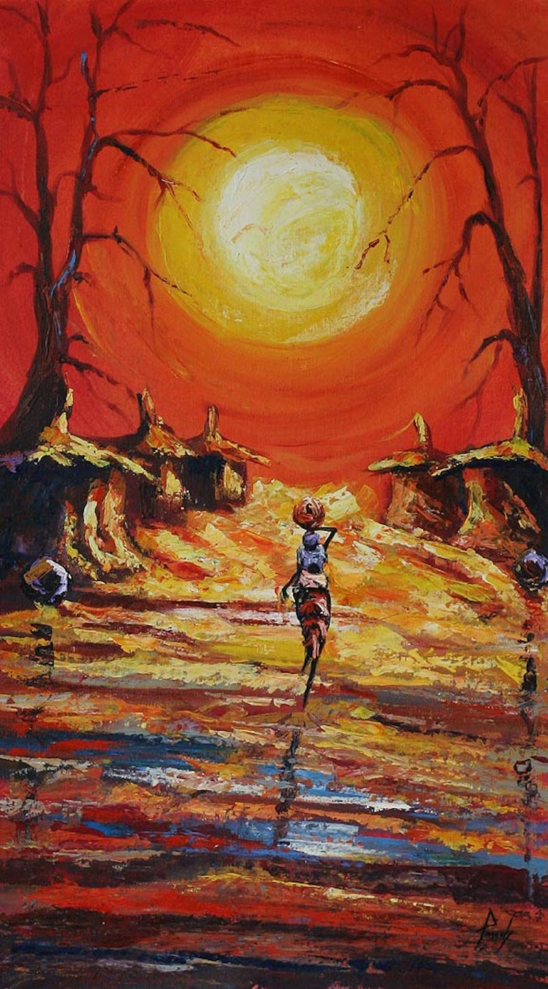 Back to Village original fine art painting west africa ghana express yourslf