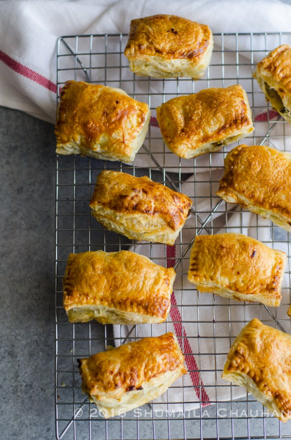 Aloo Puffs: Spicy potato filling in puff pastry