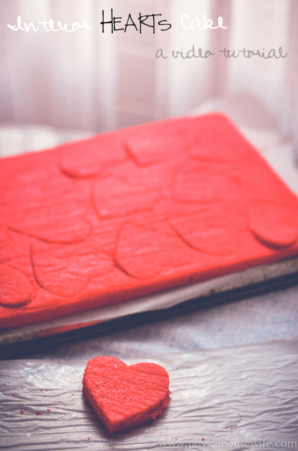 Interior hearts cake: a video tutorial the novice housewife.