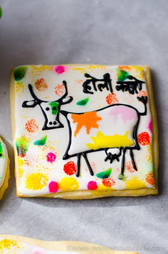 """Holi Cow"" Holi theme sugar cookies | The Novice Housewife"