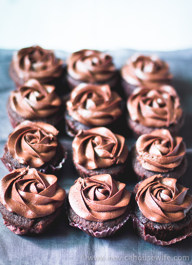 Fudgy Chocolate Cupcakes with Chocolate Fudge Frosting | The Novice ...