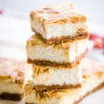 Pumpkin Maple Butter Swirled Cheesecake Bars