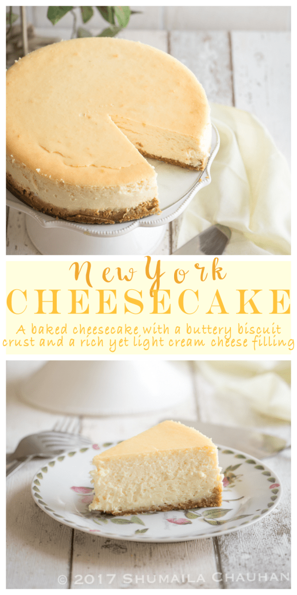A baked cheesecake with a buttery biscuit crust and a rich yet light cream cheese filling