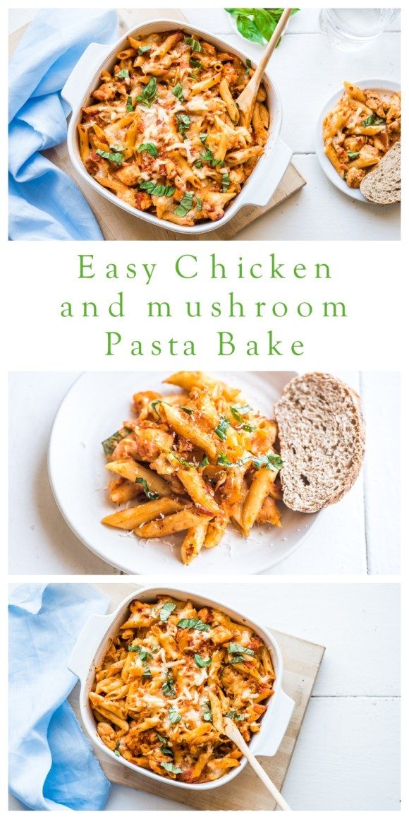 Easy Chicken and Mushroom pasta Bake