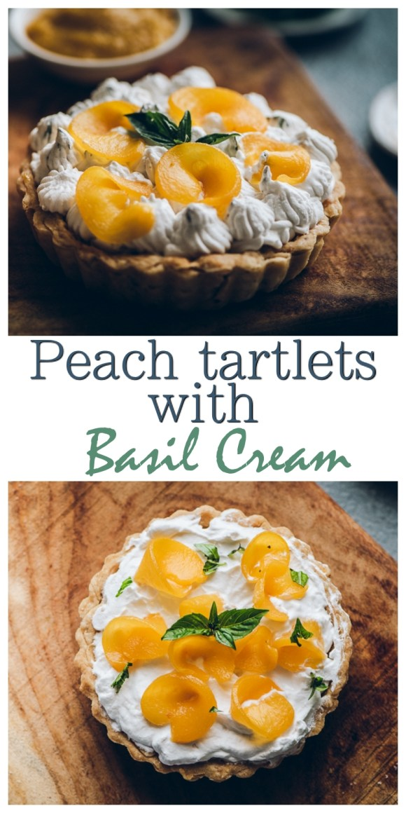 Peach tarts with basil cream