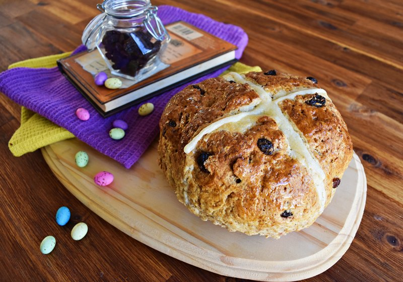 Giant Hot Cross Bun Loaf