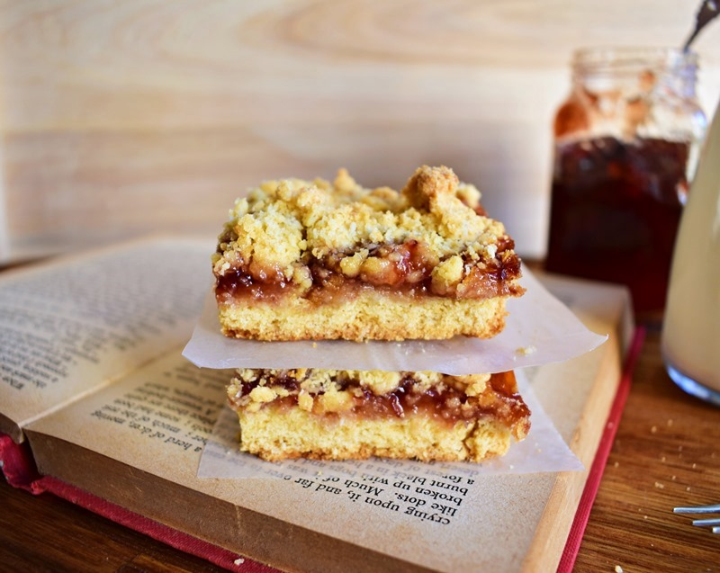 Jam Crumble Biscuit Bars
