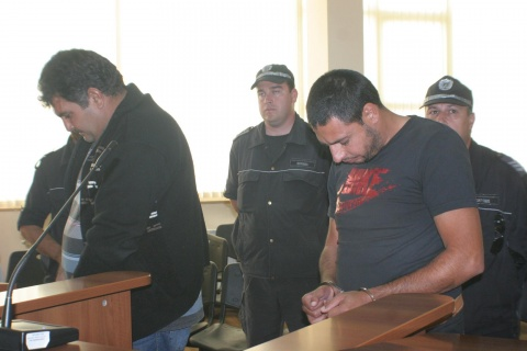 Pictured: the two Roma men - Georgi Yordanov and Spas Hristov - who ran over several people, including two policemen, in the village of Katunitsa shortly after 19-year-old was run over and killed by another associate of Roma boss Kiril Rashkov, aka Tsar K