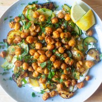 crisped chickpeas with herbs and garlic yogurt