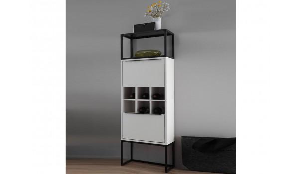 meuble casier a bouteille et rangement blanc laque