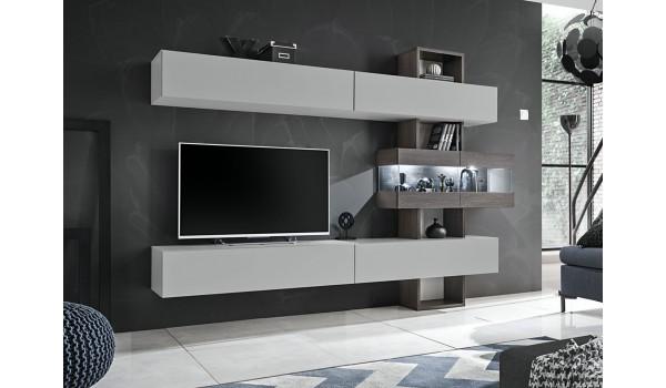 meuble tv mural design gris clair et bois avec eclairage led