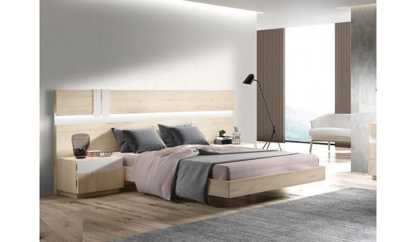 lit adulte 160x200 avec chevets et tete de lit a led design