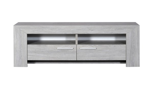 meuble tv en bois chene gris clair 2 portes 2 niches