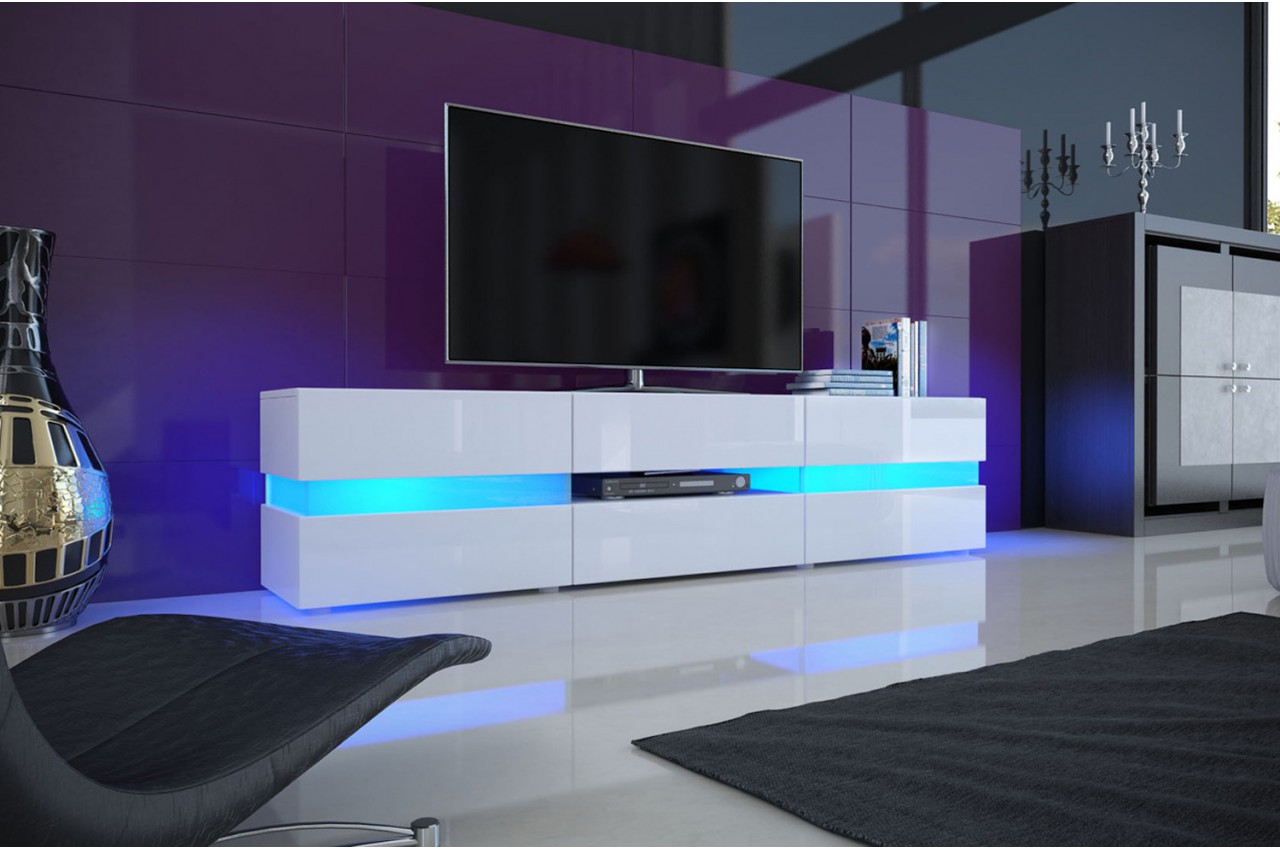 Meuble TV Design Blanc Laqu  clairage LED pour salon