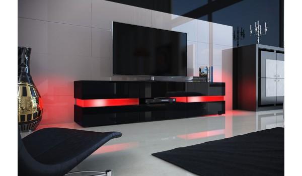 meuble tv design noir laque eclairage led