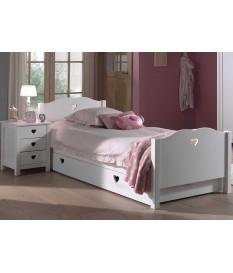 lit fille blanc avec tiroir pour