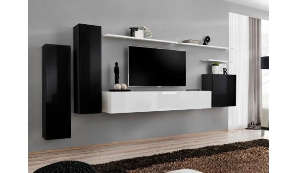 meuble tv mural design noir blanc laque